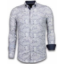 Textiel Heren Overhemden lange mouwen Tony Backer Italiaanse Overhemden - Slim Fit -  Allover Flower Pattern - Blauw