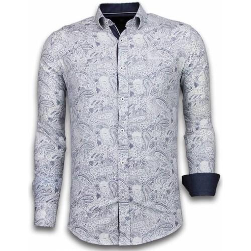Textiel Heren Overhemden lange mouwen Tony Backer Italiaanse Overhemden - Slim Fit -  Allover Flower Pattern - Blauw