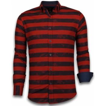 Textiel Heren Overhemden lange mouwen Tony Backer Blouse Big Stripe Camouflage Pattern Rood