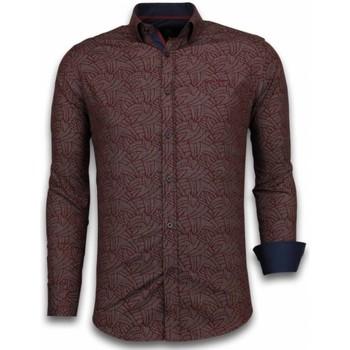 Textiel Heren Overhemden lange mouwen Tony Backer Italiaanse Overhemden - Slim Fit -  Dotted Leaves Pattern - Bordeaux