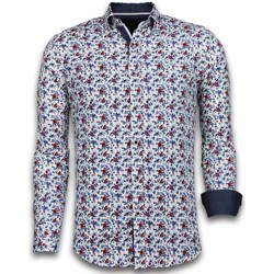 Textiel Heren Overhemden lange mouwen Tony Backer Italiaanse Overhemden - Slim Fit -  Painted Flower Pattern - Wit