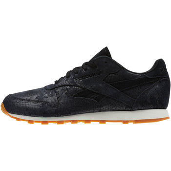 Schoenen Dames Lage sneakers Reebok Classic Classic Leather Clean Exotics Zwart / Wit / Bruin