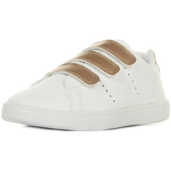 Schoenen Meisjes Lage sneakers Le Coq Sportif Courtone Ps Lea/Metallic Optical White Wit