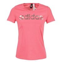 Textiel Dames T-shirts korte mouwen adidas Performance FOIL LINEAR Roze