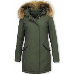 Textiel Dames Parka jassen Thebrand Winterjassen - Dames Winterjas Wooly Lang - Bontkraag - Parka Groen