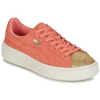 Schoenen Meisjes Lage sneakers Puma SUEDE PLATFORM GLAM JR Oranje / Goud