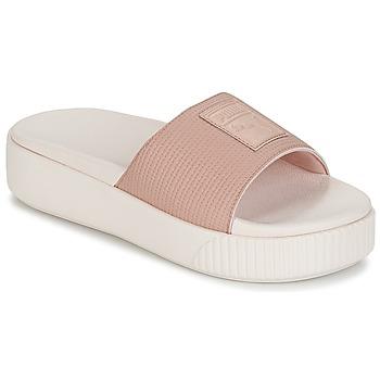 Schoenen Dames Leren slippers Puma PLATFORM SLIDE WNS EP Roze