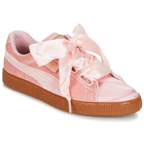 Panier Coeur Vs Pumas Chaussures Baskets Avec Lo Rose Rose LKOs8JK