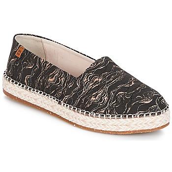 Schoenen Dames Espadrilles El Naturalista SEAWEED CANVAS Zwart / Grijs
