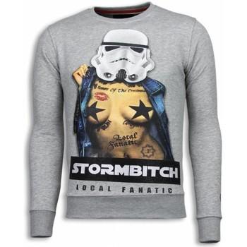 Textiel Heren Sweaters / Sweatshirts Local Fanatic Stormbitch Rhinestone Licht Grijs