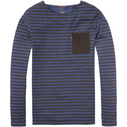 Textiel Heren T-shirts met lange mouwen Scotch & Soda Longsleeve striped tee Blauw