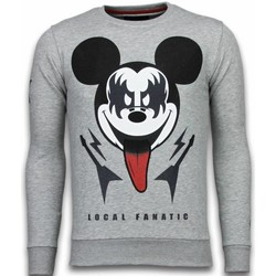 Textiel Heren Sweaters / Sweatshirts Local Fanatic Kiss My Mickey Rhinestone Grijs