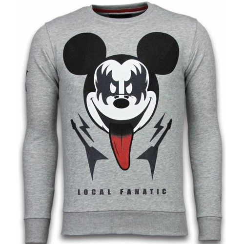 Textiel Heren Sweaters / Sweatshirts Local Fanatic Kiss My Mickey Rhinestone Grijs