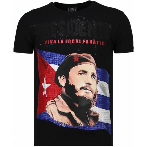 Textiel Heren T-shirts korte mouwen Local Fanatic Presidente Rhinestone Zwart