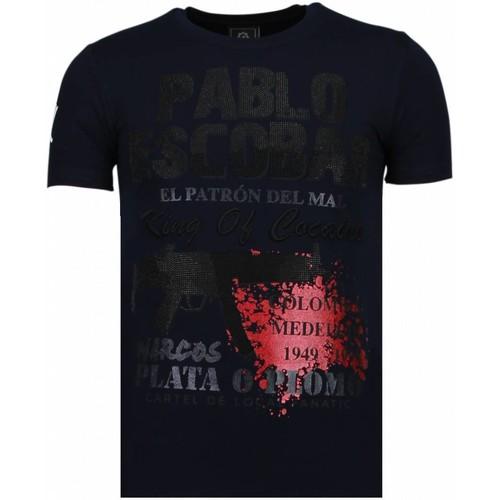 Textiel Heren T-shirts korte mouwen Local Fanatic Pablo Escobar Narcos Rhinestone Blauw