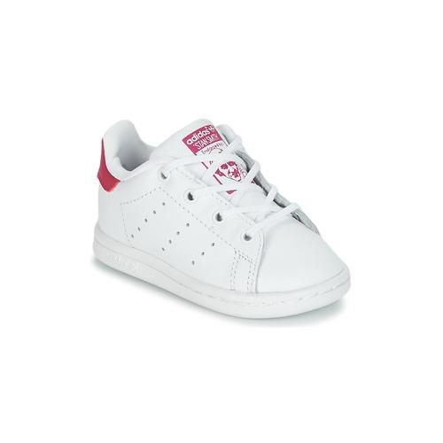 Schoenen Meisjes Lage sneakers adidas Originals STAN SMITH I Wit / Roze