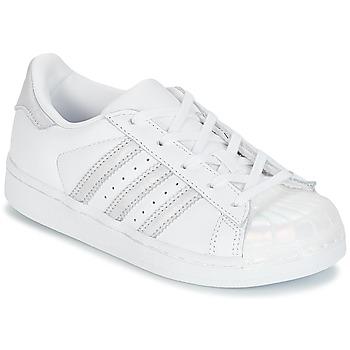 Schoenen Meisjes Lage sneakers adidas Originals STAN SMITH C Wit / Zilver