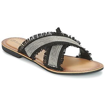 Schoenen Dames Leren slippers Moony Mood IRTA Zwart / Zilver