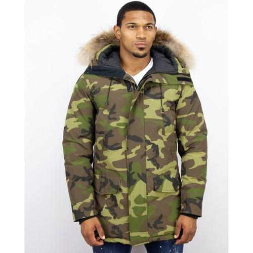 Textiel Heren Parka jassen Y Chromosome Lange Parka Jas Bontkraag Camouflage Groen