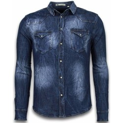 Textiel Heren Overhemden lange mouwen Enos Denim Shirt - Spijkerblouse Slim Fit - Vintage Washed 19