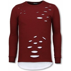 Textiel Heren Sweaters / Sweatshirts Uniplay Longfit Sweater - Damaged Look Shirt Bordeaux