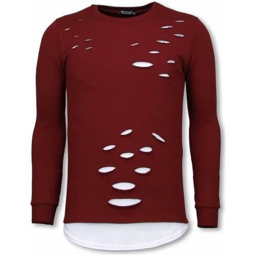 Textiel Heren Sweaters / Sweatshirts Tony Backer Longfit Sweater - Damaged Look Shirt - Bordeaux