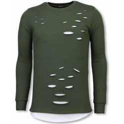 Textiel Heren Sweaters / Sweatshirts Tony Backer Longfit Sweater - Damaged Look Shirt - Groen