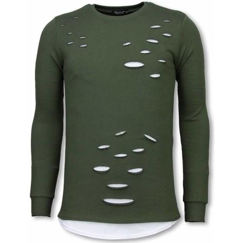 Textiel Heren Sweaters / Sweatshirts Tony Backer Longfit Sweater - Damaged Look Shirt - Groen