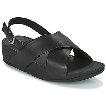 Schoenen Dames Sandalen / Open schoenen FitFlop LULU CROSS BACK-STRAP SANDALS - LEATHER Zwart