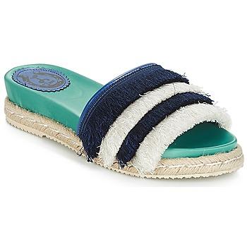 Schoenen Dames Leren slippers Miss L'Fire ZOEY Marine / Groen