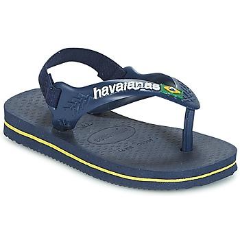 Schoenen Jongens Teenslippers Havaianas BABY BRASIL LOGO Marine / Geel