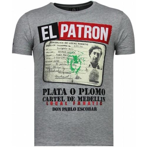 Textiel Heren T-shirts korte mouwen Local Fanatic El Patron Narcos Billionaire Rhinestone Grijs