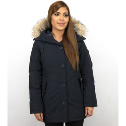 Textiel Dames Dons gevoerde jassen Thebrand Lange Parka Jas Bontkraag Blauw