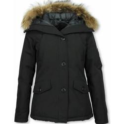 Textiel Dames Dons gevoerde jassen Thebrand Korte Winterjas Bontkraag Zwart