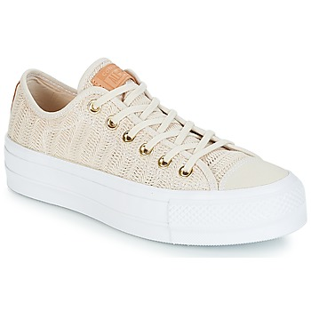Schoenen Dames Lage sneakers Converse Chuck Taylor All Star Lift-Ox Beige / Wit