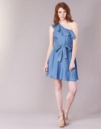 Textiel Dames Korte jurken MICHAEL Michael Kors ONE SHLDR RUFFLE DRS Denim