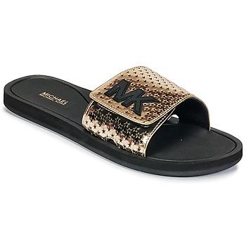 Schoenen Dames slippers MICHAEL Michael Kors MK SLIDE Zwart / Goud