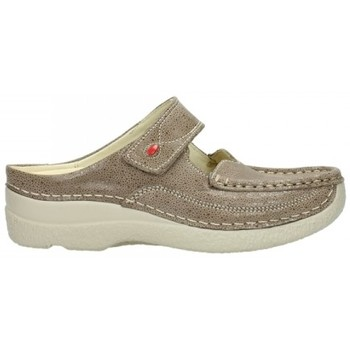 Schoenen Dames Klompen Wolky 06227 Roll Slipper - 90150 taupe dots nubuck Taupe