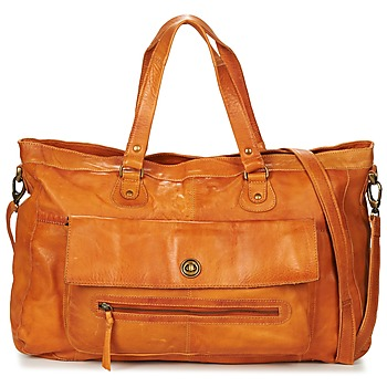Tassen Dames Handtassen lang hengsel Pieces TOTALLY ROYAL LEATHER TRAVEL BAG Cognac