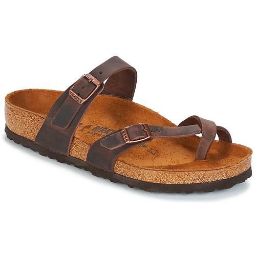 Schoenen Dames Leren slippers Birkenstock MAYARI Bruin