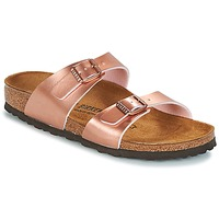 Schoenen Dames Leren slippers Birkenstock SYDNEY Roze / Goud