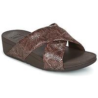 Schoenen Dames Leren slippers FitFlop SWOOP SLIDE Chocolat