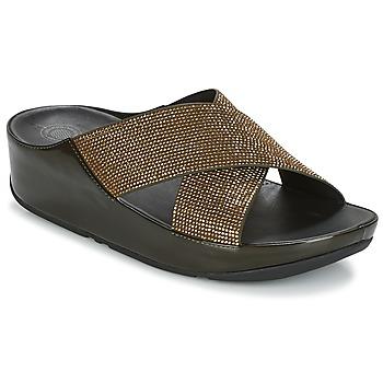 Schoenen Dames Leren slippers FitFlop CRYSTALL SLIDE Olijf