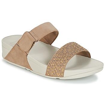 Schoenen Dames Leren slippers FitFlop LULU POPSTUD SLIDE SANDAL Beige