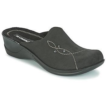 Schoenen Dames Leren slippers Romika VILLA 125 Zwart