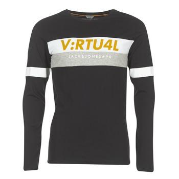 Textiel Heren T-shirts met lange mouwen Jack & Jones JCOACE-TEE-LS-CREW-NECK Zwart