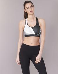 Textiel Dames Sport BH's Under Armour ARMOUR MID KEYHOLE PRINT Zwart / Wit