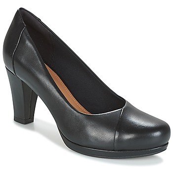 Schoenen Dames pumps Clarks CHORUS CAROL Zwart / Leer