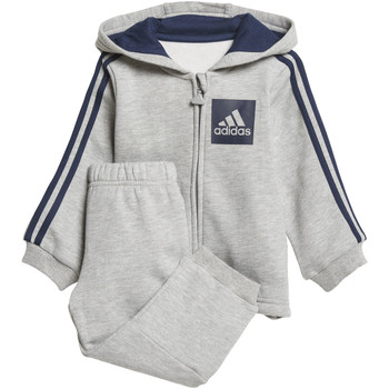 Textiel Kinderen Trainingspakken adidas Performance 3-Stripes Hooded Fleece Joggingpak Grijs / Donkerblauw