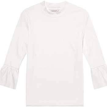 Textiel Dames T-shirts met lange mouwen Maison Scotch Clean s/s tee with special sleeve denim white Wit